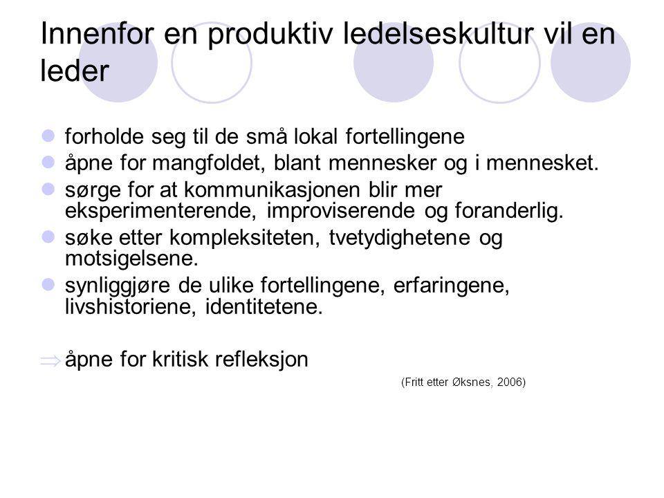 Innenfor en produktiv ledelseskultur vil en leder