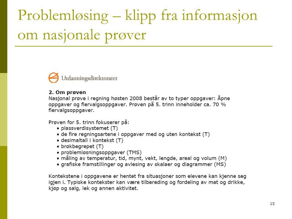 Problemløsing – klipp fra informasjon om nasjonale prøver