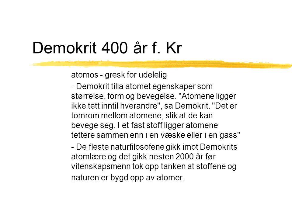 Demokrit 400 år f. Kr atomos - gresk for udelelig