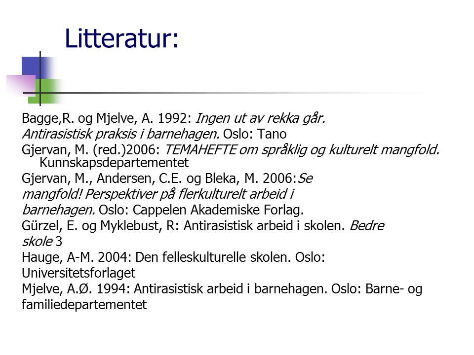 Litteratur: Bagge,R. og Mjelve, A. 1992: Ingen ut av rekka går.