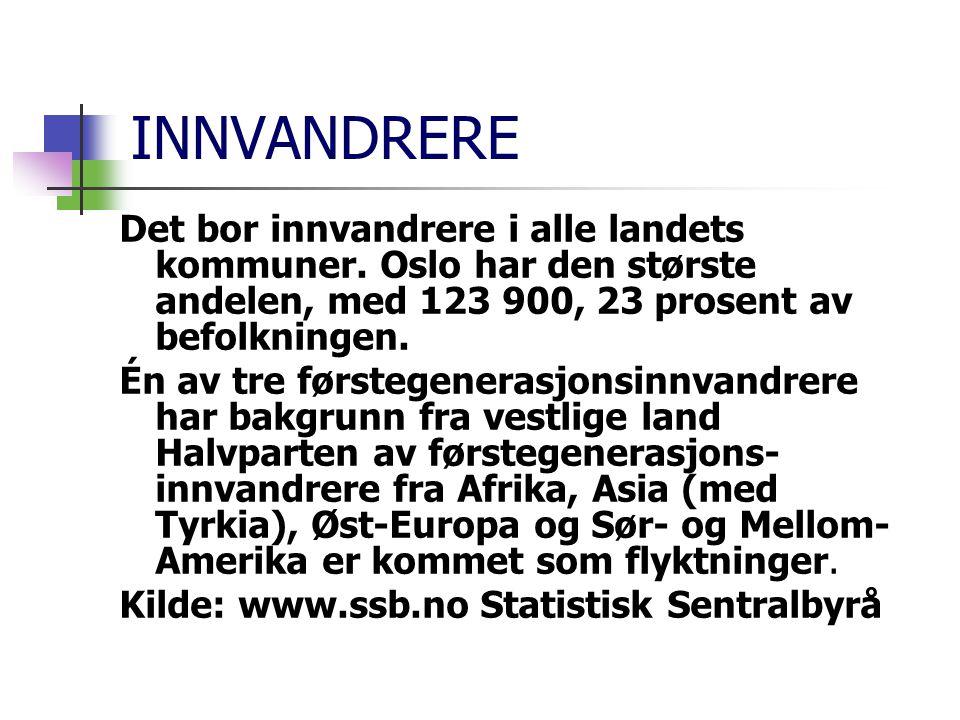 INNVANDRERE Det bor innvandrere i alle landets kommuner. Oslo har den største andelen, med 123 900, 23 prosent av befolkningen.