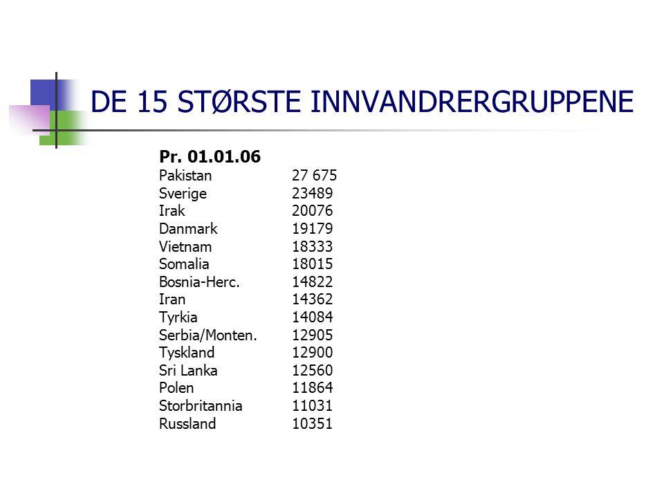 DE 15 STØRSTE INNVANDRERGRUPPENE