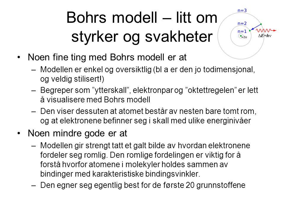 Bohrs modell – litt om styrker og svakheter