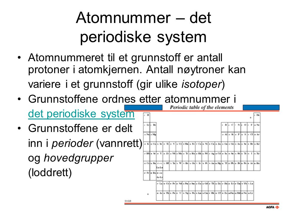 Atomnummer – det periodiske system