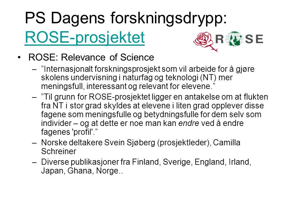 PS Dagens forskningsdrypp: ROSE-prosjektet