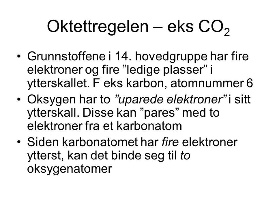 Oktettregelen – eks CO2 Grunnstoffene i 14. hovedgruppe har fire elektroner og fire ledige plasser i ytterskallet. F eks karbon, atomnummer 6.