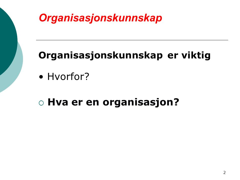 Organisasjonskunnskap