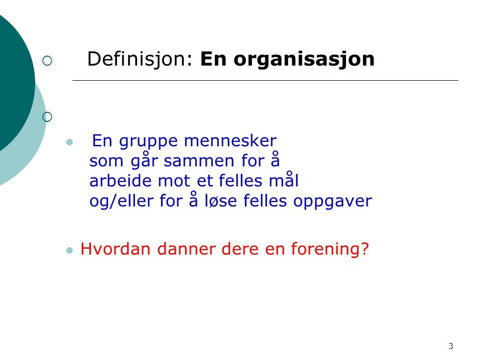 Definisjon: En organisasjon