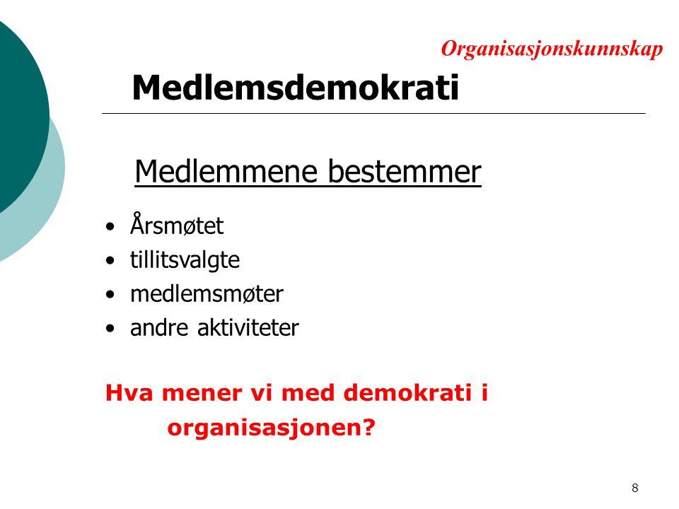 Organisasjonskunnskap Medlemsdemokrati