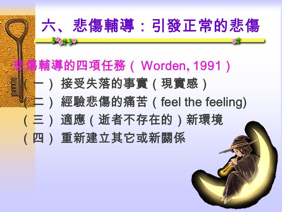 六、悲傷輔導:引發正常的悲傷 悲傷輔導的四項任務( Worden' 1991) (一) 接受失落的事實(現實感)