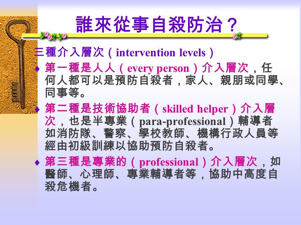 誰來從事自殺防治? 三種介入層次(intervention levels)
