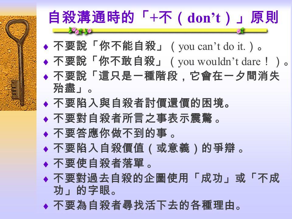 自殺溝通時的「+不(don't)」原則 不要說「你不能自殺」(you can't do it.)。