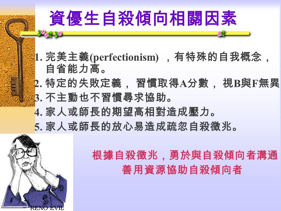 資優生自殺傾向相關因素 1. 完美主義(perfectionism) ,有特殊的自我概念, 自省能力高。