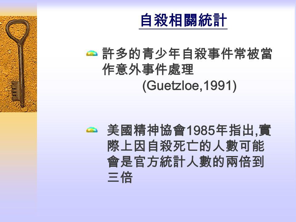 自殺相關統計 許多的青少年自殺事件常被當作意外事件處理 (Guetzloe,1991)