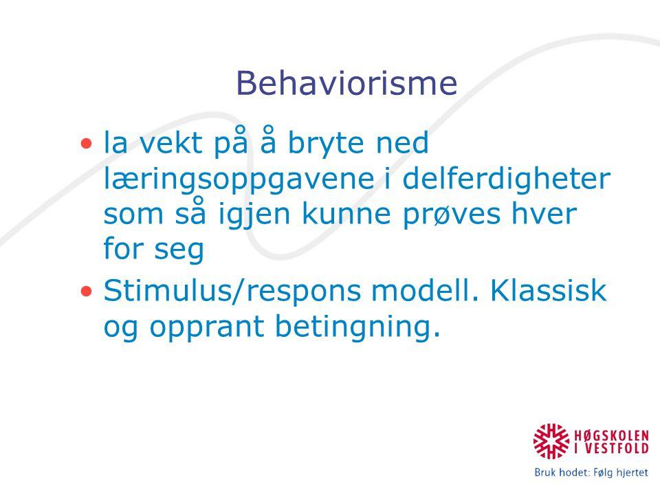 Behaviorisme la vekt på å bryte ned læringsoppgavene i delferdigheter som så igjen kunne prøves hver for seg.