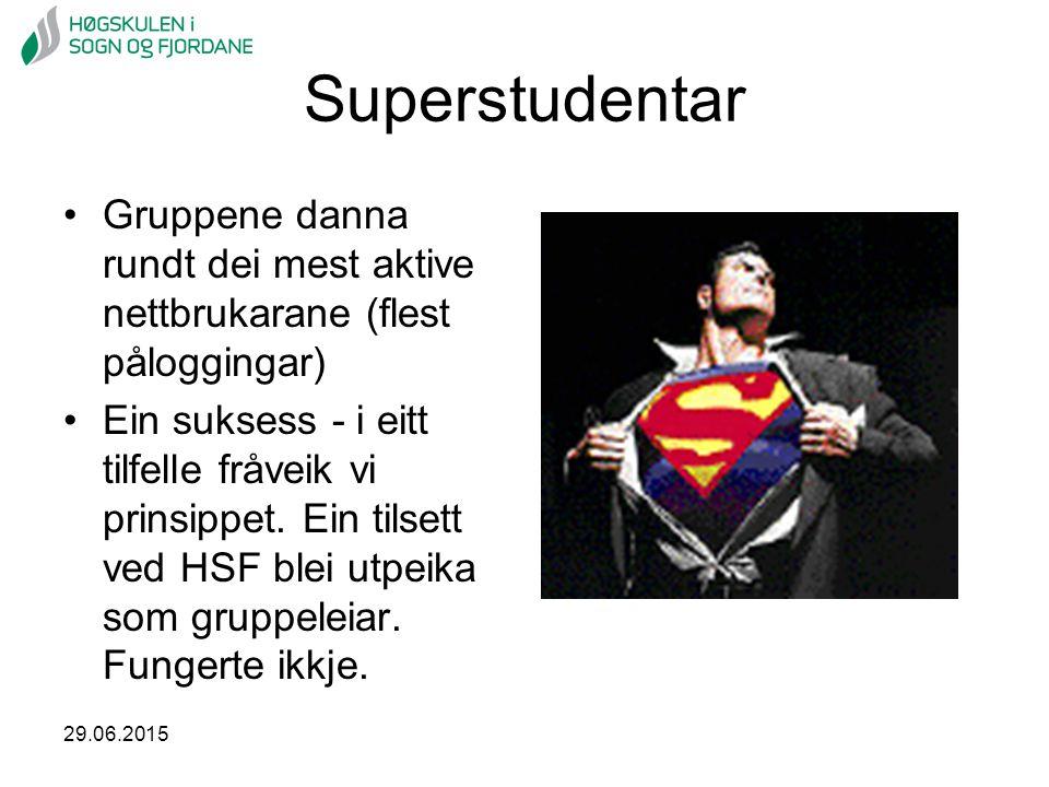 Superstudentar Gruppene danna rundt dei mest aktive nettbrukarane (flest påloggingar)