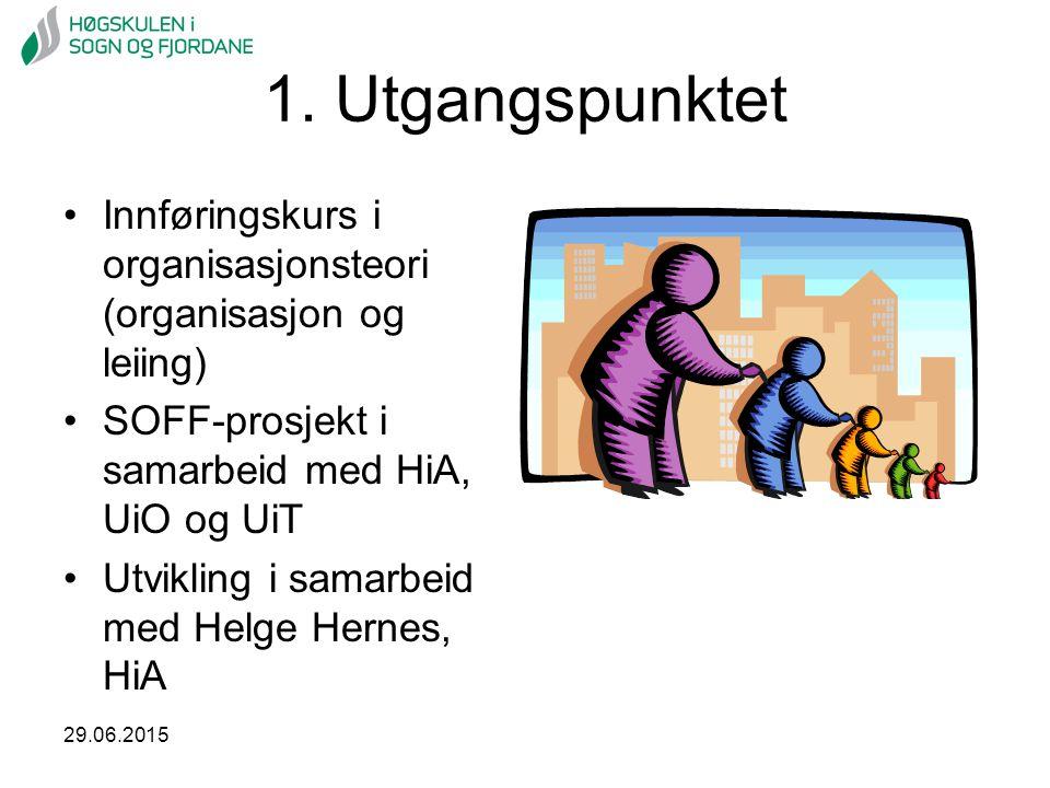 1. Utgangspunktet Innføringskurs i organisasjonsteori (organisasjon og leiing) SOFF-prosjekt i samarbeid med HiA, UiO og UiT.