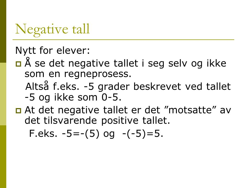 Negative tall Nytt for elever:
