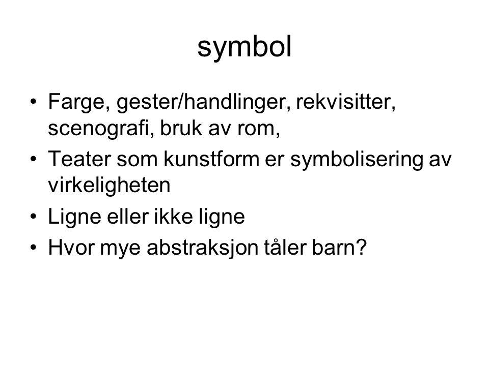 symbol Farge, gester/handlinger, rekvisitter, scenografi, bruk av rom,