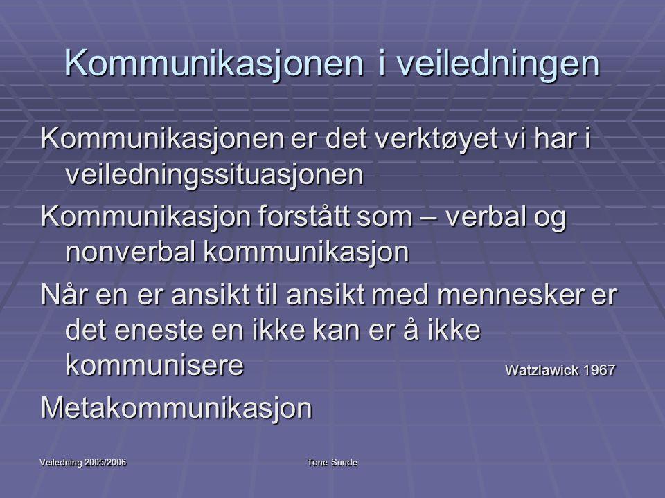 Kommunikasjonen i veiledningen