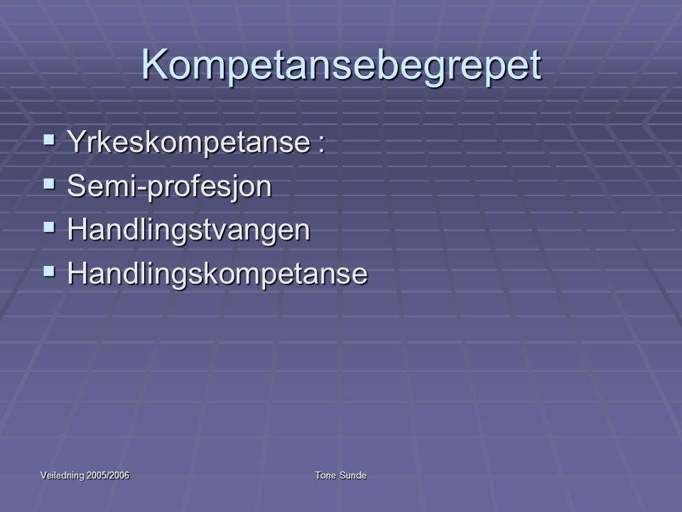 Kompetansebegrepet Yrkeskompetanse : Semi-profesjon Handlingstvangen