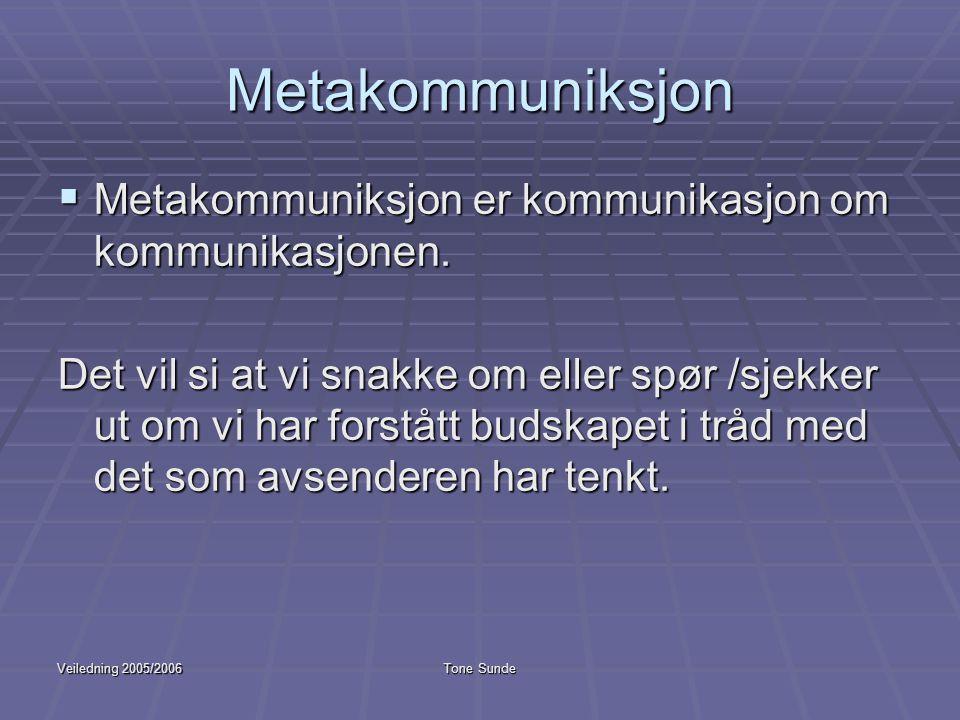 Metakommuniksjon Metakommuniksjon er kommunikasjon om kommunikasjonen.