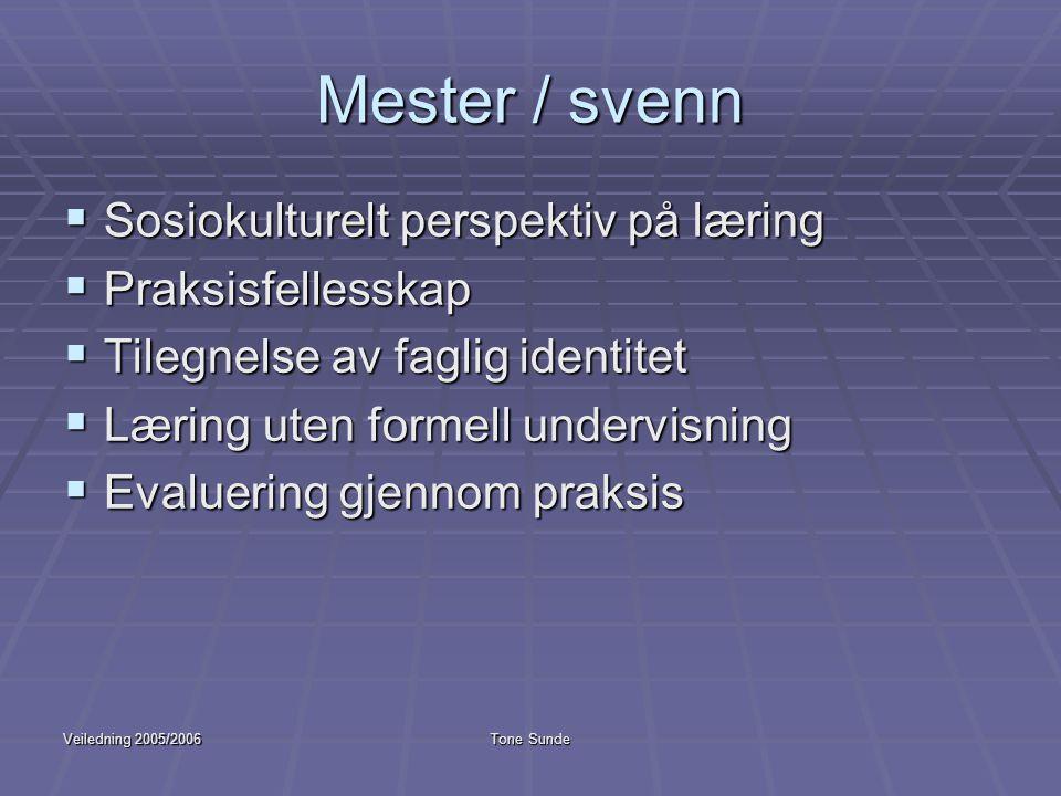 Mester / svenn Sosiokulturelt perspektiv på læring Praksisfellesskap