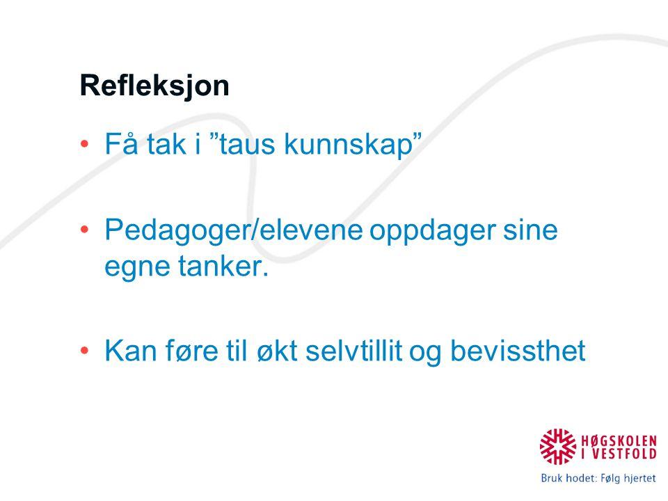 Refleksjon Få tak i taus kunnskap Pedagoger/elevene oppdager sine egne tanker.