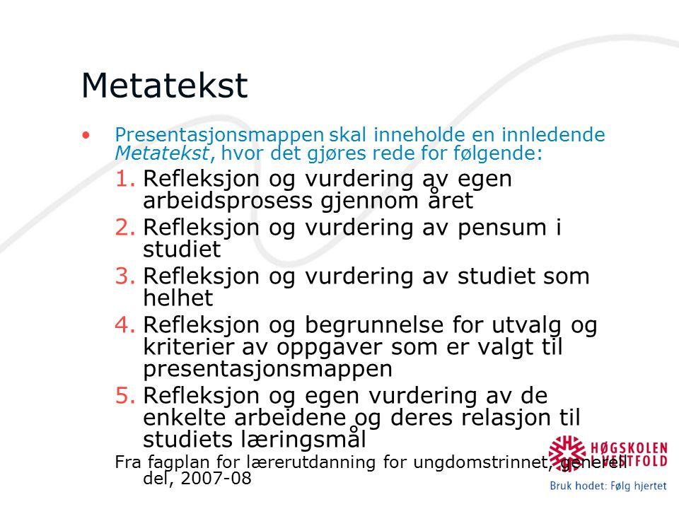 Metatekst Refleksjon og vurdering av egen arbeidsprosess gjennom året
