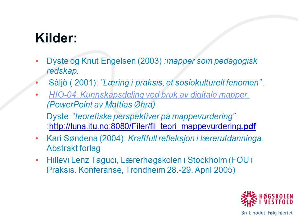 Kilder: Dyste og Knut Engelsen (2003) :mapper som pedagogisk redskap.