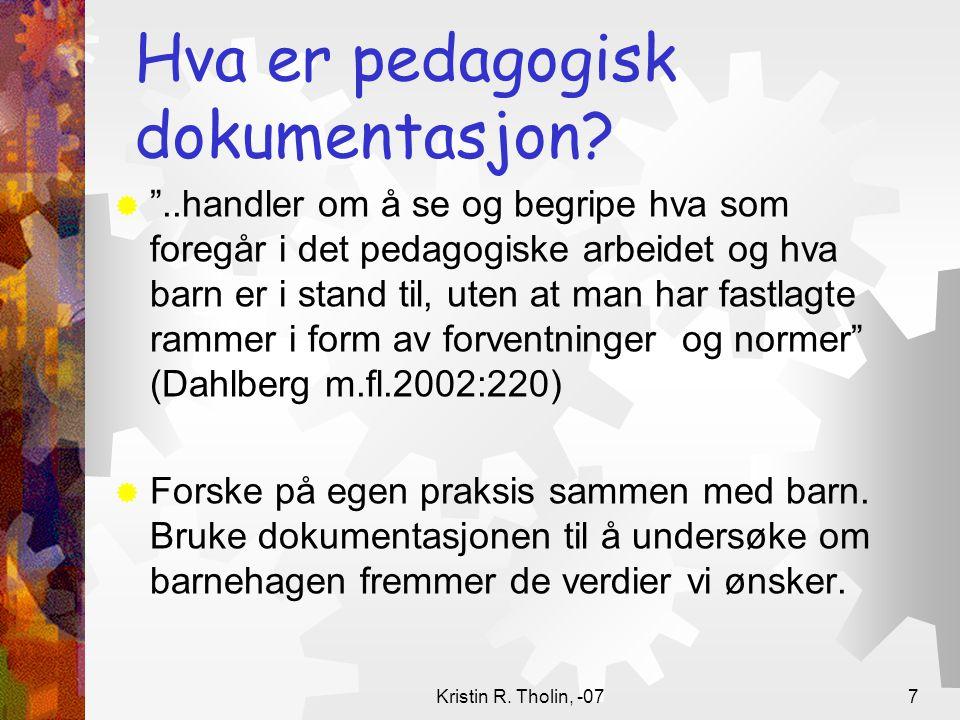 Hva er pedagogisk dokumentasjon