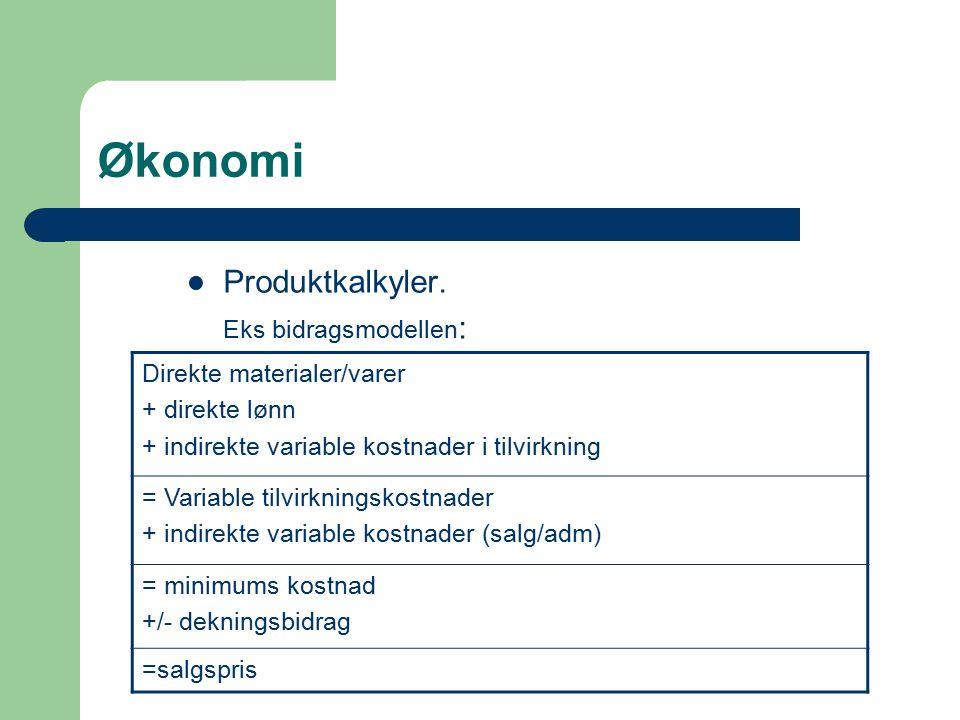 Økonomi Produktkalkyler. Eks bidragsmodellen: Direkte materialer/varer