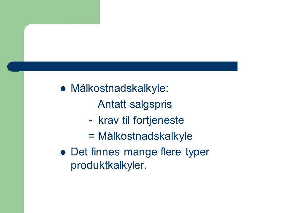 Det finnes mange flere typer produktkalkyler.