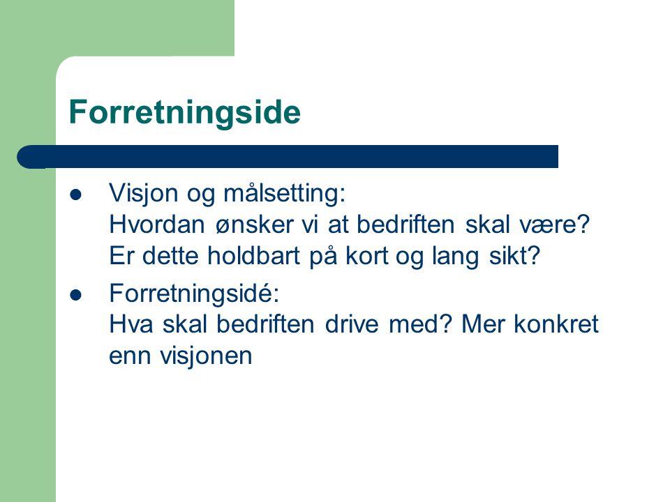 Forretningside Visjon og målsetting: Hvordan ønsker vi at bedriften skal være Er dette holdbart på kort og lang sikt