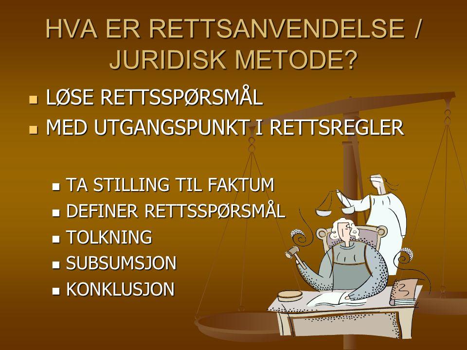 HVA ER RETTSANVENDELSE / JURIDISK METODE