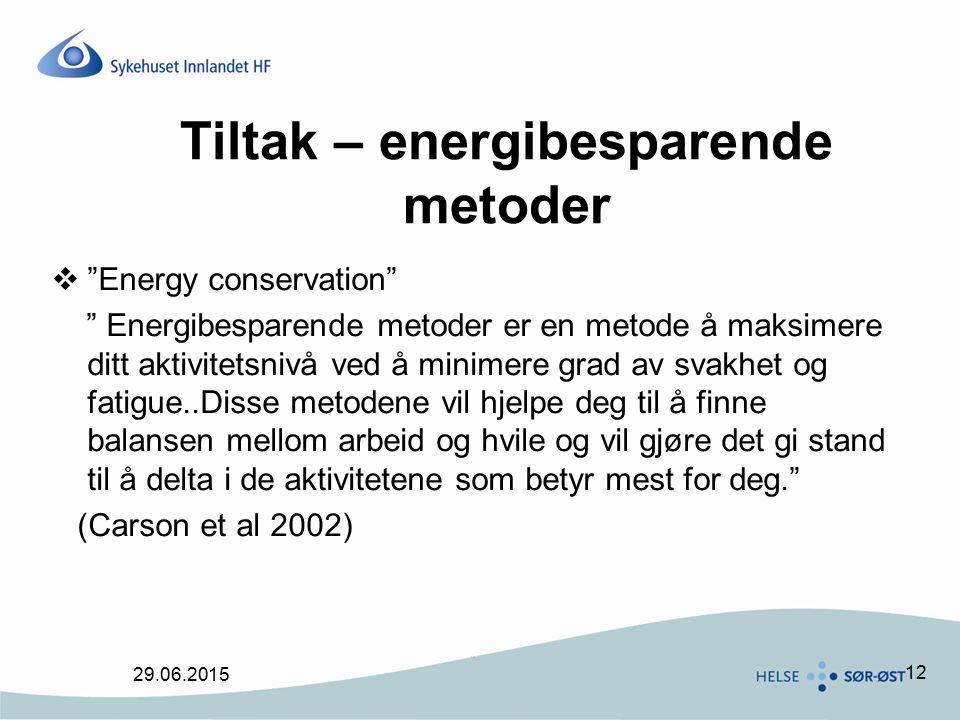 Tiltak – energibesparende metoder