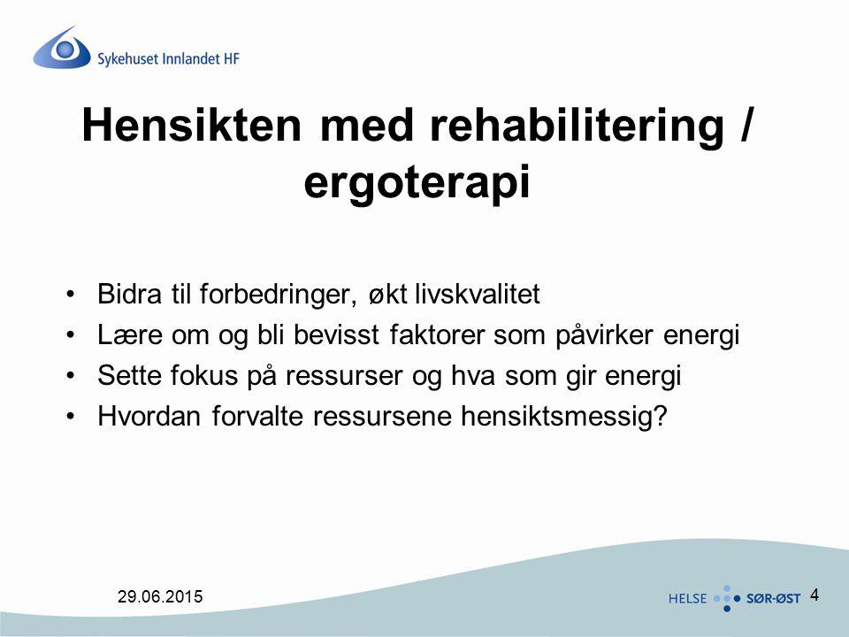 Hensikten med rehabilitering / ergoterapi
