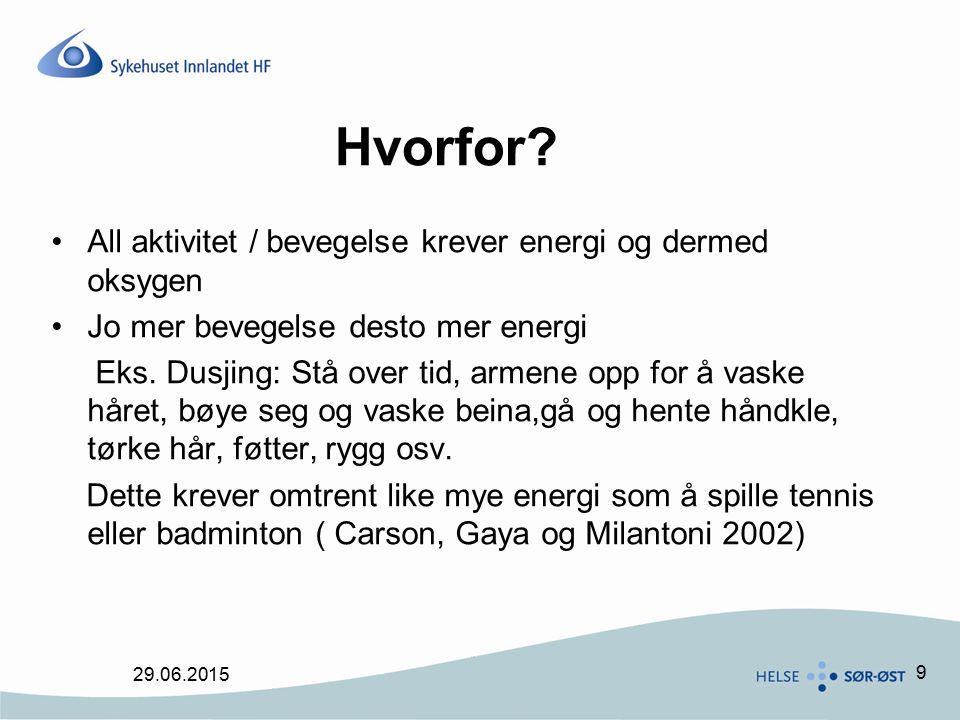 Hvorfor All aktivitet / bevegelse krever energi og dermed oksygen