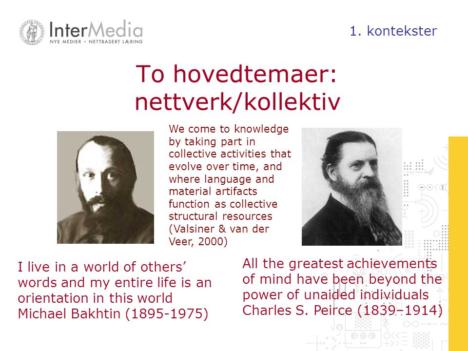 To hovedtemaer: nettverk/kollektiv
