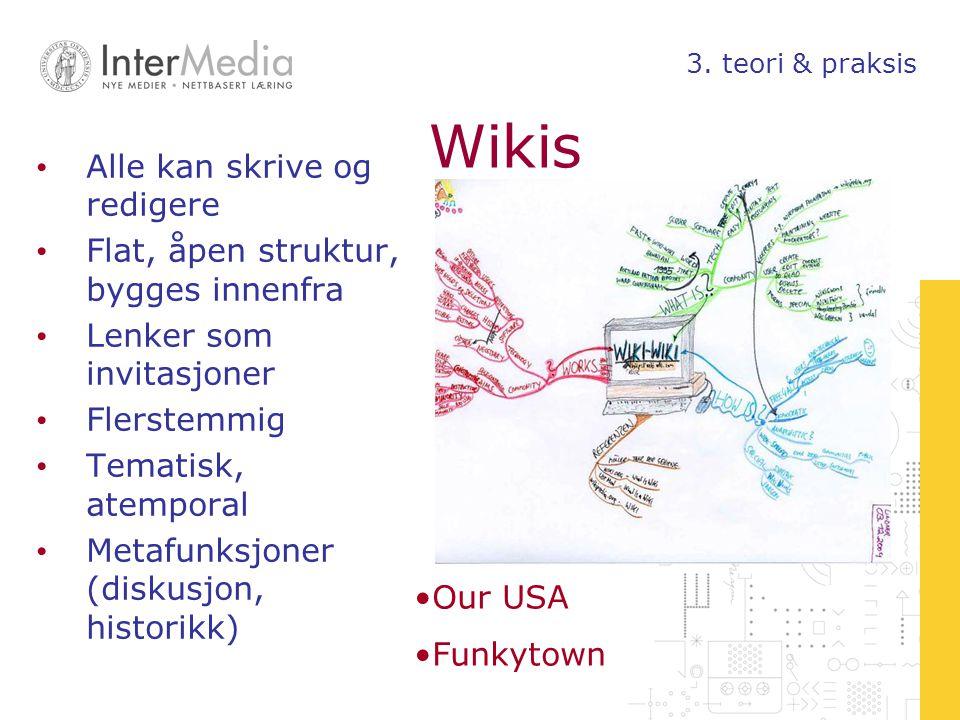 Wikis Alle kan skrive og redigere Flat, åpen struktur, bygges innenfra