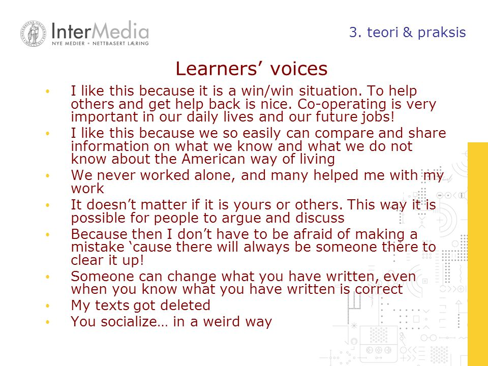Learners' voices 3. teori & praksis