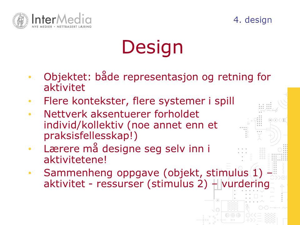 Design Objektet: både representasjon og retning for aktivitet