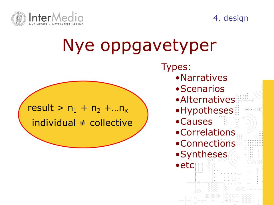 Nye oppgavetyper Types: Narratives Scenarios Alternatives Hypotheses