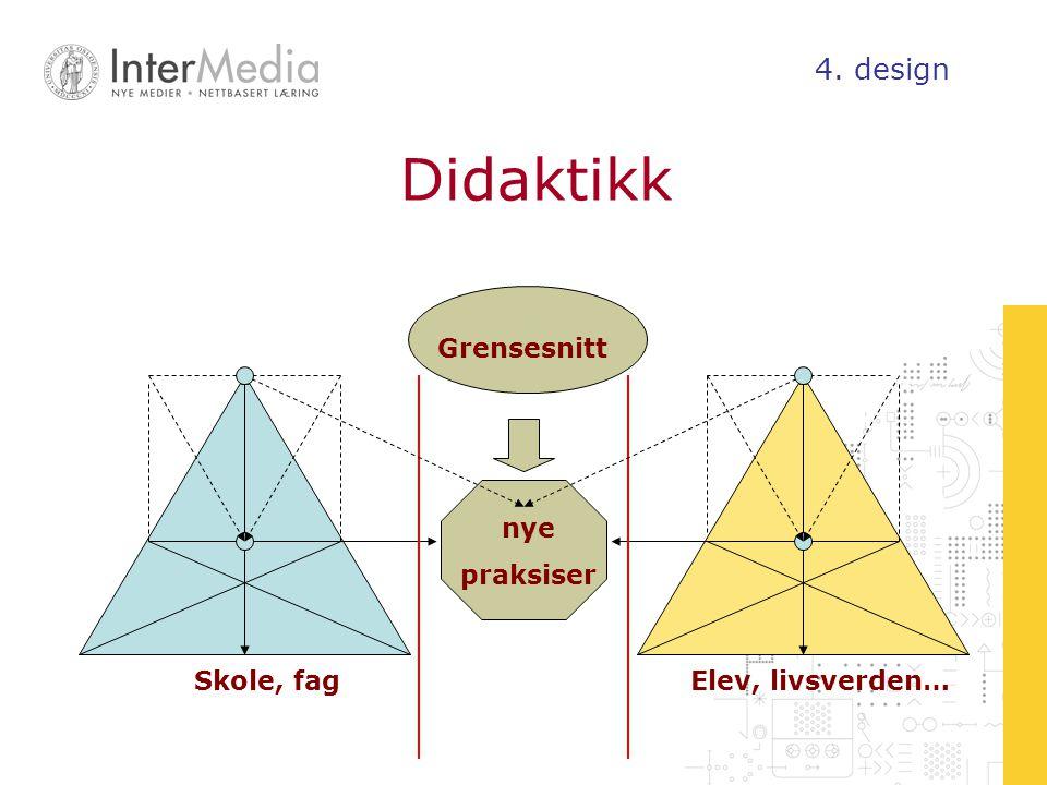 Didaktikk 4. design Grensesnitt nye praksiser Skole, fag