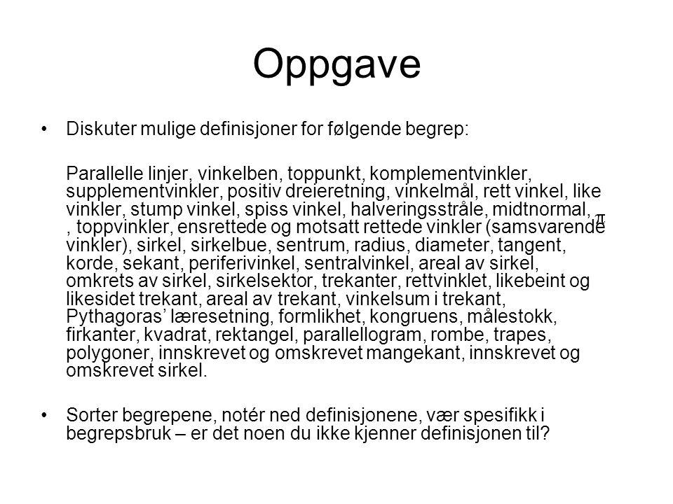 Oppgave Diskuter mulige definisjoner for følgende begrep: