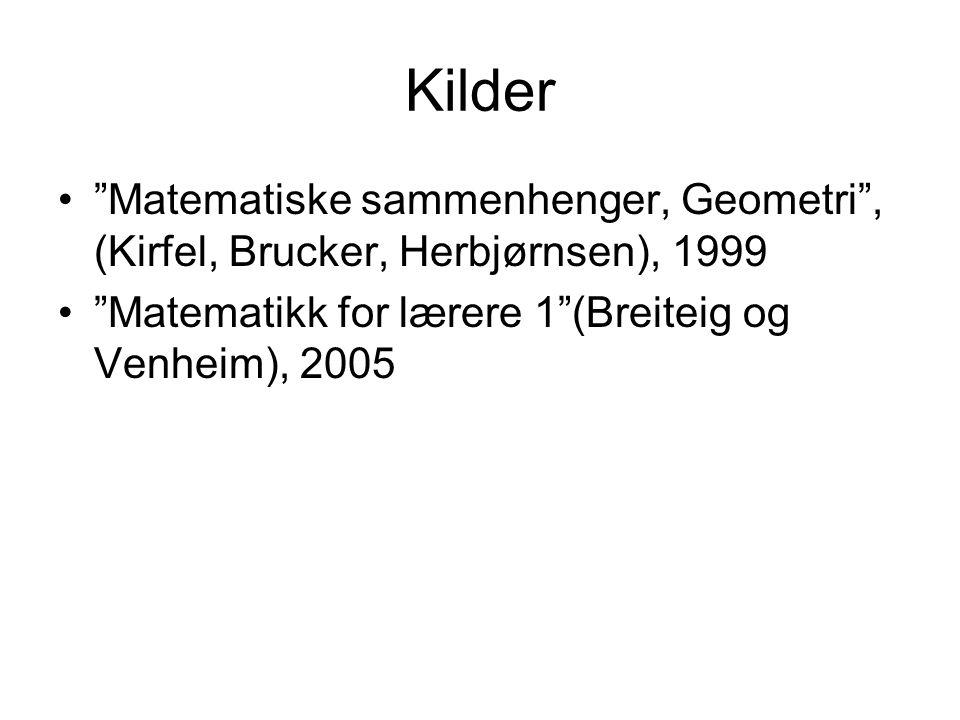 Kilder Matematiske sammenhenger, Geometri , (Kirfel, Brucker, Herbjørnsen), 1999.