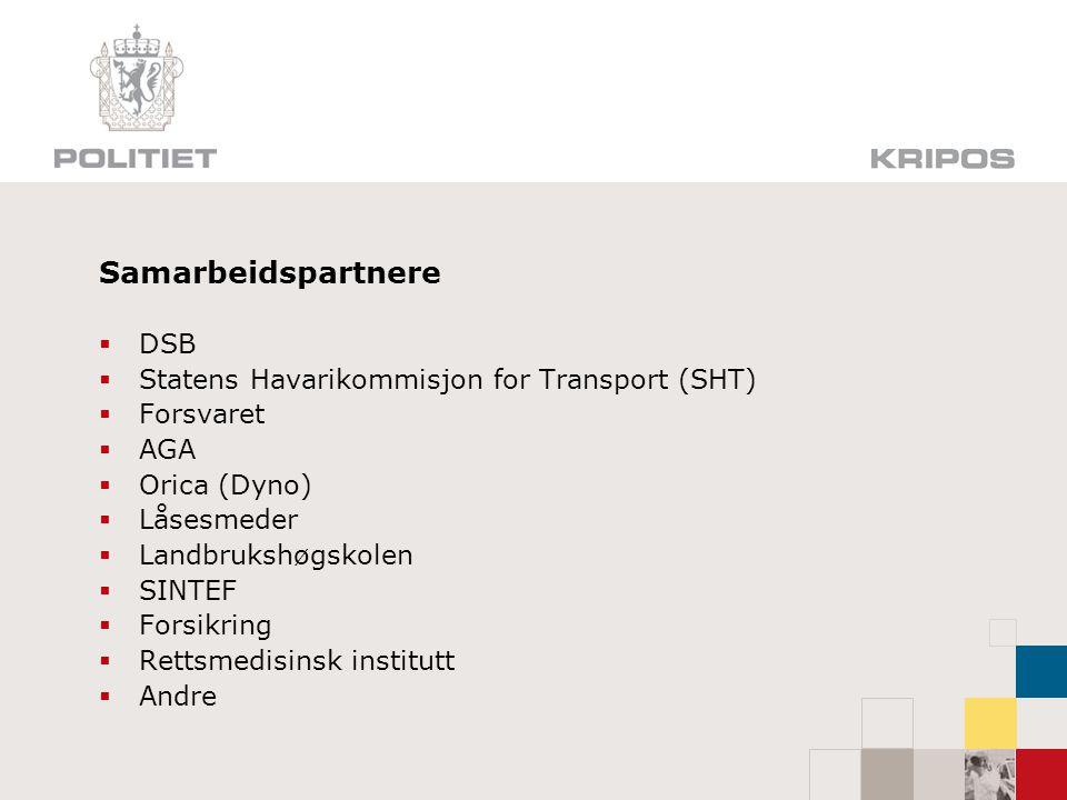 Samarbeidspartnere DSB Statens Havarikommisjon for Transport (SHT)