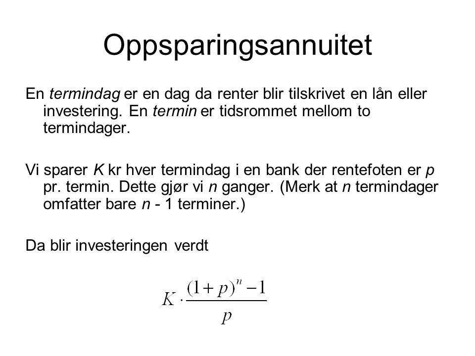Oppsparingsannuitet En termindag er en dag da renter blir tilskrivet en lån eller investering. En termin er tidsrommet mellom to termindager.