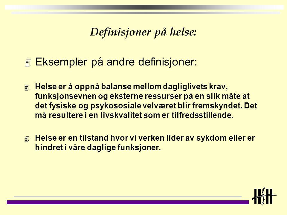 Definisjoner på helse: