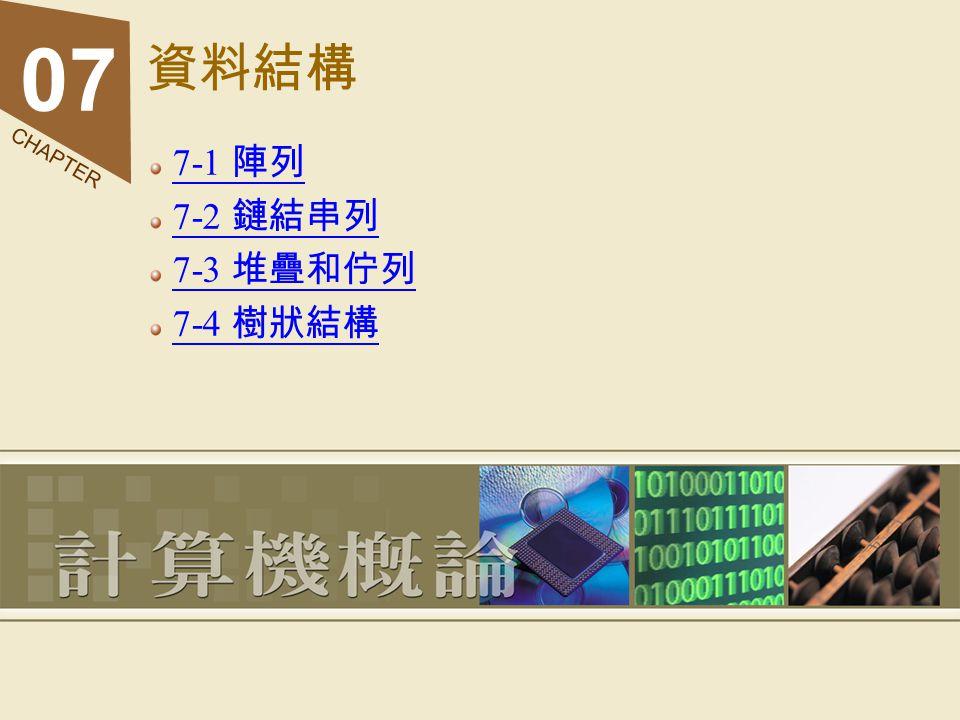 資料結構 7-1 陣列 7-2 鏈結串列 7-3 堆疊和佇列 7-4 樹狀結構